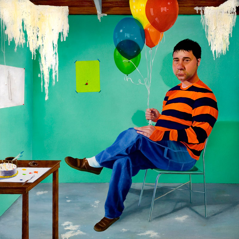 Craig-Cully_Birthday-Portrait-(In-the-studio-at-40)_2012_32'-x-32'_oil-on-panel_-Two