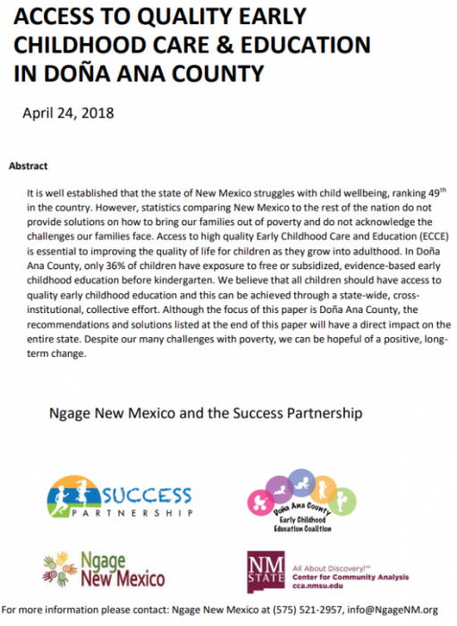 Access to Early Childhood Education in Doña Ana County 2017