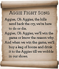 The Aggie Fight Song Scroll