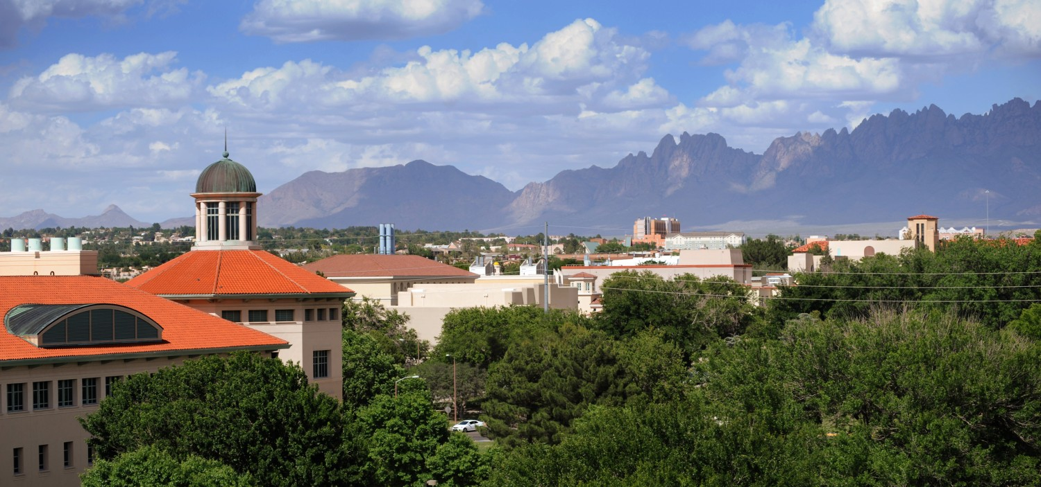 NMSU rankings: An aerial view of the NMSU campus in Las Cruces.